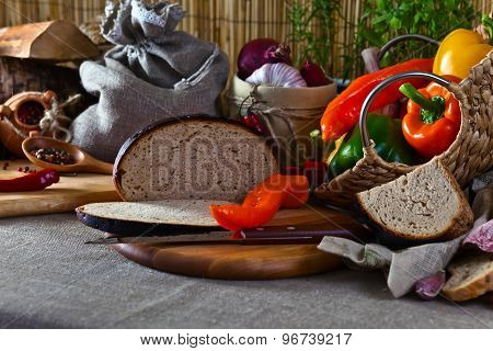 Vegetables And Bread