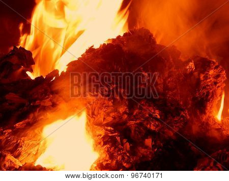 Embers burning in fire