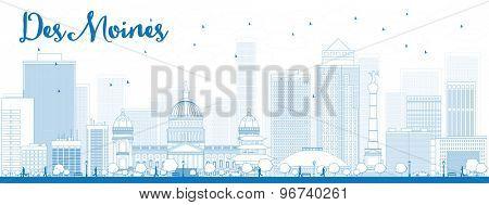 Outline Des Moines Skyline with Blue Buildings. Vector Illustration