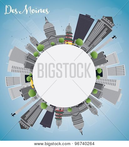 Des Moines Skyline with Grey Buildings and copy space. Vector Illustration