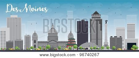 Des Moines Skyline with Grey Buildings and Blue Sky. Vector Illustration