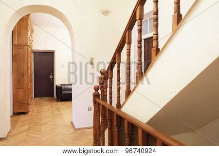 Interior decoration of a room with stairs