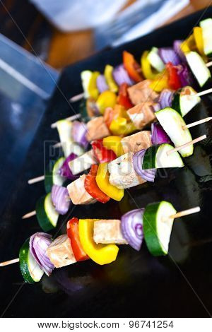 Grilling Vegetables And Vegan, Vegeterian Skewers Or Kebabs