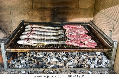 Fish And Steak On The Charcoal Grill