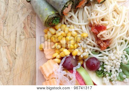 Pasta Spaghetti With Salad Mix Fruit And Vegetables