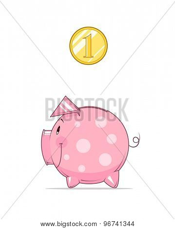 Piggy bank and coin. Eps10 vector illustration. Isolated on white background