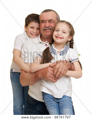 senior with children family portrait on white