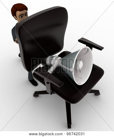 3D Man Pushinng Chair And Speaker On It Concept