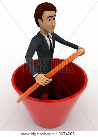 3D Man Standing Inside Big Bucket Concept