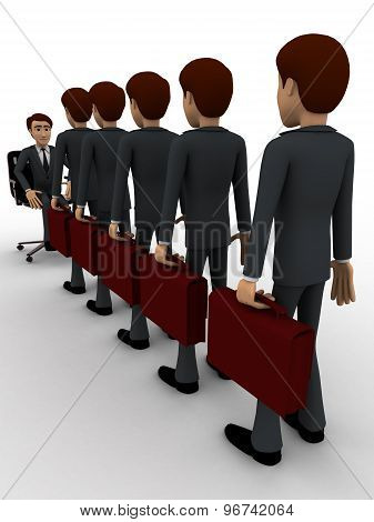 3D Men Going For Interview In Long Queue Concept