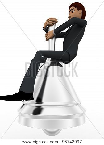 3D Man Sitting On Big Metalic Bell Concept
