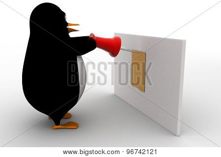 3D Penguin Attaching Note Using Pin On Board Concept