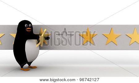 3D Penguin Giving Star Rating To It Concept