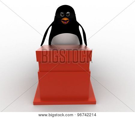 3D Penguin Giving Speech And Wears Spectacles Concept