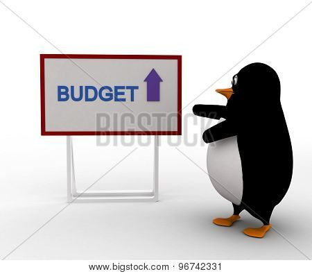 3D Penguin With Budget Board And Upside Arrow Concept
