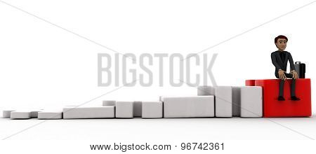3D Man Sitting On Graph Of Puzzle Piece Concept