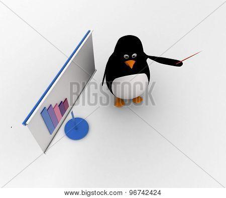 3D Penguin Present On Presentation Board Concept