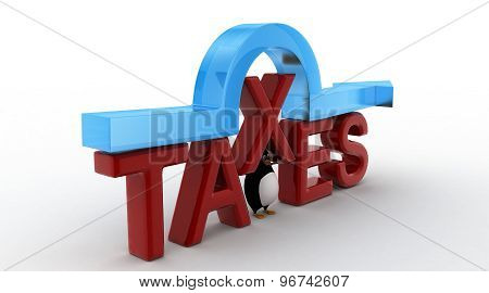 3D Penguin Standing Under Taxes Text And Arrow Concept