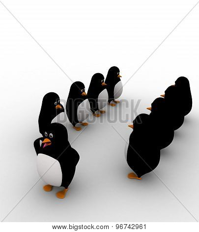 3D Penguin Leader With His Team Of Penguins Concept