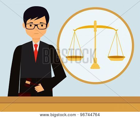 Man judge in the workplace holding gavel. Vector illustration