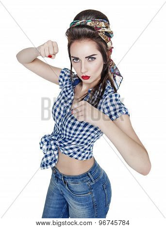 Beautiful Woman In Retro Pin-up Style With Her Fists Up, Ready To Fight