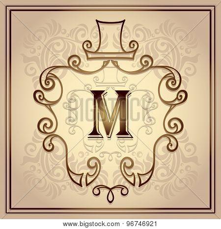 Monogram frame for men on beige