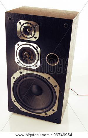 Stereo speaker on plain background