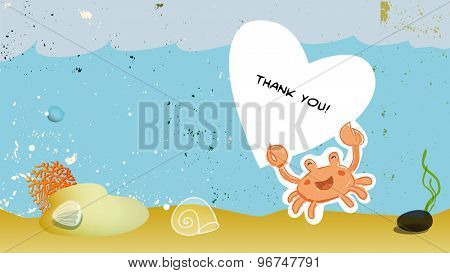 Under the sea, underwater, marine life. Vector cartoon thank you card illustration.
