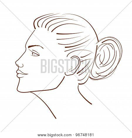 Line Illustration Of A Beautiful Woman Face From Profile View