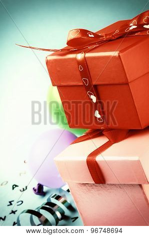 Stack Of Colorful Gift Boxes In Retro Style