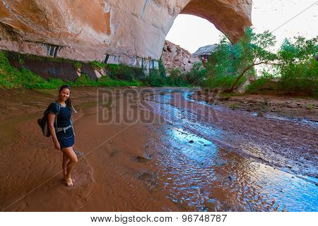 Woman Hiker Backpacker Near Jacob Hamblin Arch Coyote Gulch
