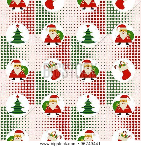 Seamless Christmas Pattern With Santa Claus And Christmas Trees On Background Pixel
