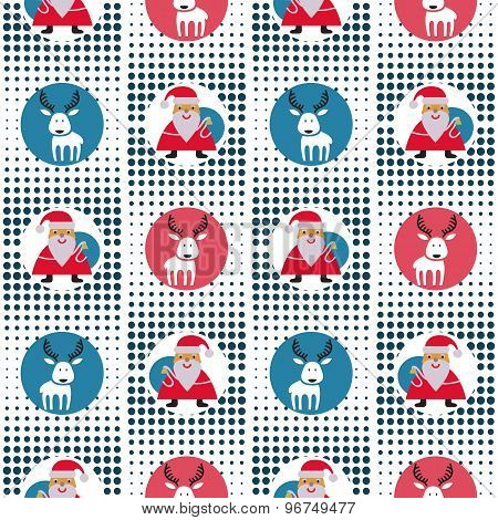 Seamless Christmas Pattern With Santa Claus And Reindeer At The Pixel Background