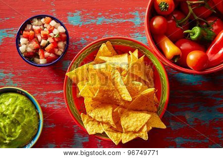 Nachos with guacamole pico de gallo sauce and chii peppers