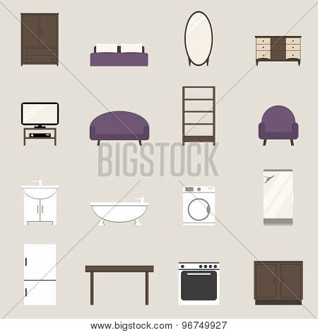 Apartment elements set. Modern furniture isolated icons. Wardrobe, bed, tv set, sofa, armchair.
