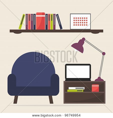 Home work and study place. Workplace interior design. Modern furniture: armchair, coffee table and s