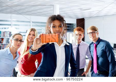 African young executive selfie self portrait multi ethnic teamwork group as leader in office