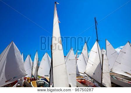 Sailboats school with sail textures in blue sky outdoor at Mediterranean