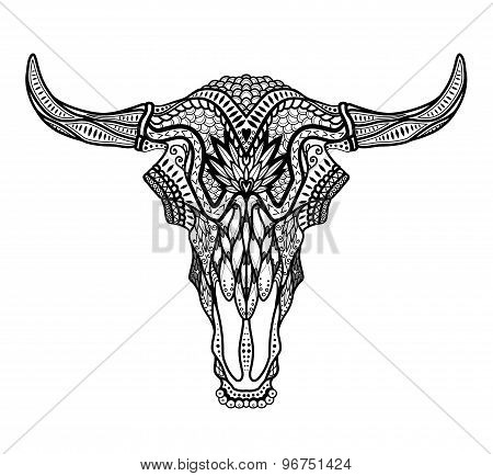 Psychedelic Bull / auroch skull with horns on white background. With ornament on head