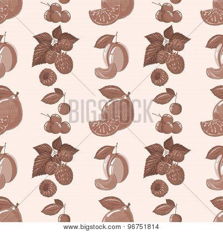 seamless pattern of lemon, raspberry, cherry, plum