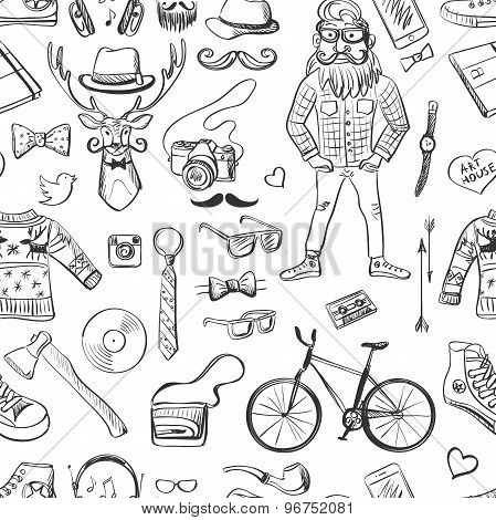 hand-drawn Hipster style pattern
