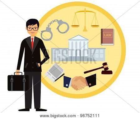 Man lawyer. Icon set law. Vector illustration