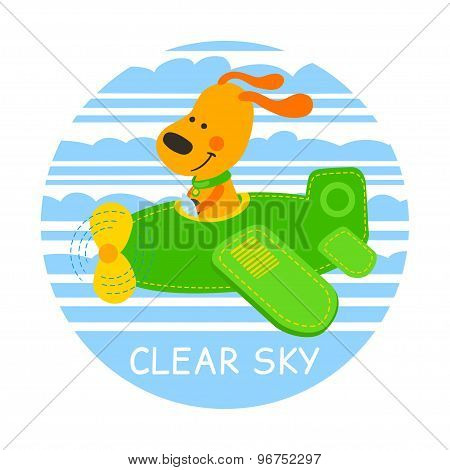 Pilot Dog Vector Illustration