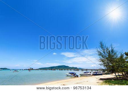 Beach Harbor Area At Ao Chalong Bay In Phuket, Thailand