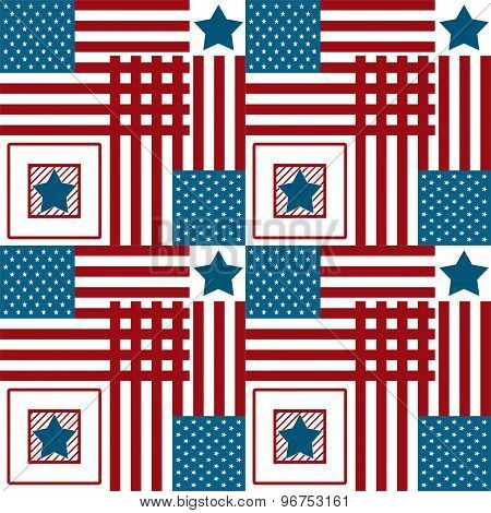 Happy 4Th Of July, Usa Independence Day Background. Vector Seamless Flag Pattern, Stars And Red Stri