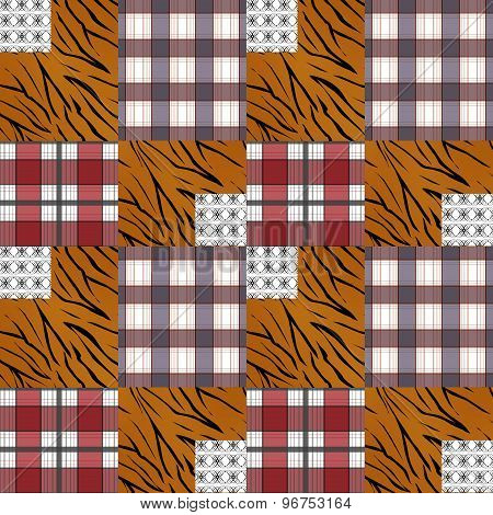 Patchwork Seamless Pattern Plaid Checkered Background