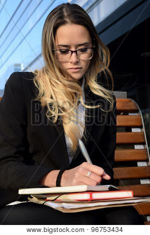 Beautiful Business Woman Outside Her Office