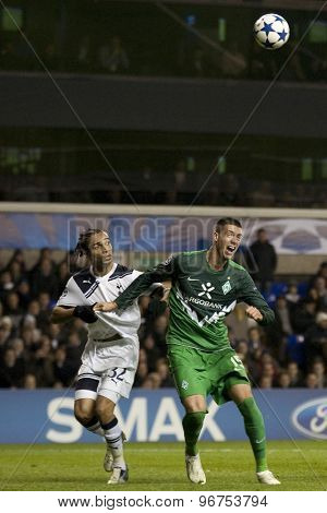 LONDON ENGLAND, November 11 2010: Tottenham's Benoit Assou-Ekotto and Werder Bremen's Sebastian Prodl in action during the UEFA Champions League match between Tottenham Hotspur FC and Werder Bremen