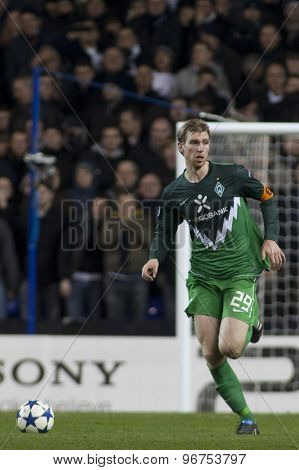 LONDON ENGLAND, November 11 2010: Werder Bremen's defender Per Mertesacker  in action during the UEFA Champions League match between Tottenham Hotspur FC and Werder Bremen, played at White Hart Lane