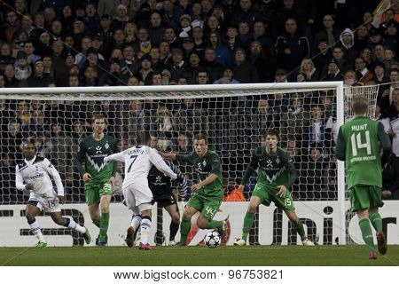 LONDON ENGLAND, November 11 2010: Tottenham's midfielder Aaron Lennon attacks the Werder Bremen goal during the UEFA Champions League match between Tottenham Hotspur FC and Werder Bremen